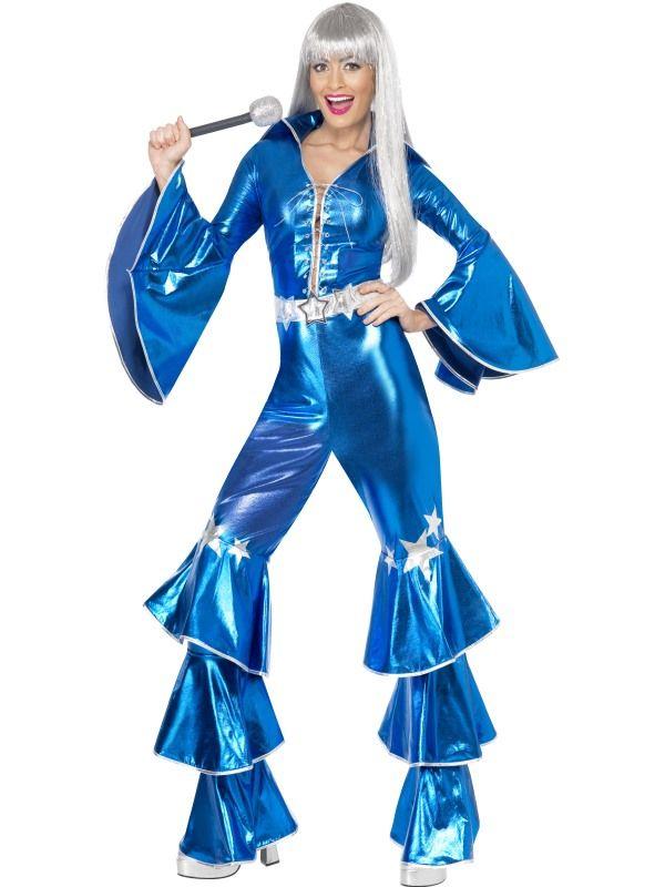 Kostým - ABBA Dancing dream 1970´s - modrá - M (88-B) Smiffys.com