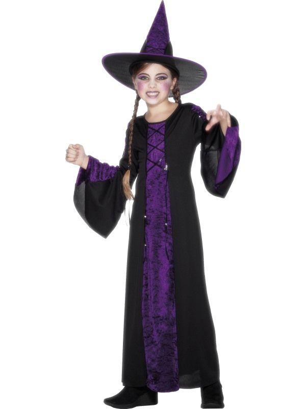 Dětský kostým - Čarodějnice fialová - L (85-F) Smiffys.com