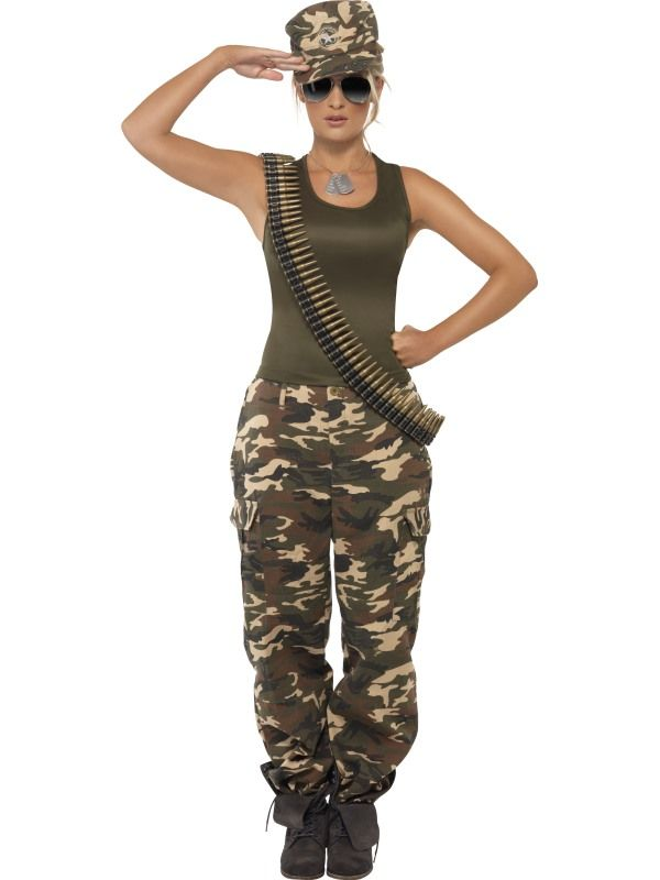 Kostým - Vojenská dívka - maskáče - L (97) Smiffys.com