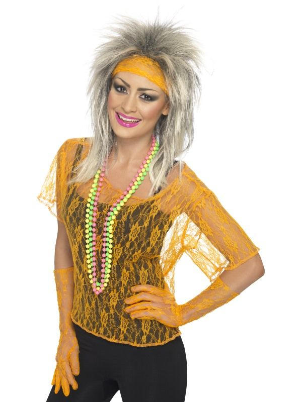 Sada krajkovaná oranžová (56) Smiffys.com