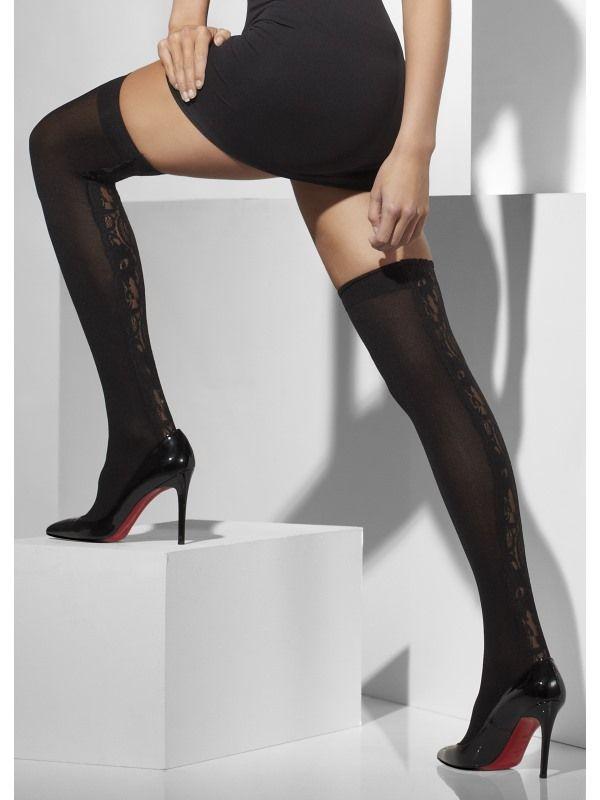 Punčochy s krajkou černé (31-D) Smiffys.com