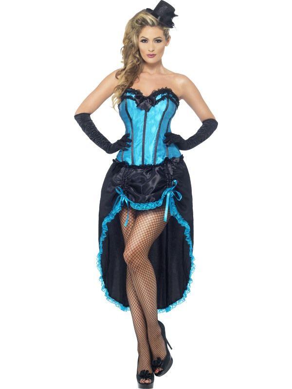 Kostým - Burlesque Dancer - modrá - M (88-B) Smiffys.com