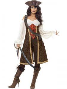 Kostým - Pirátka hnědá - M