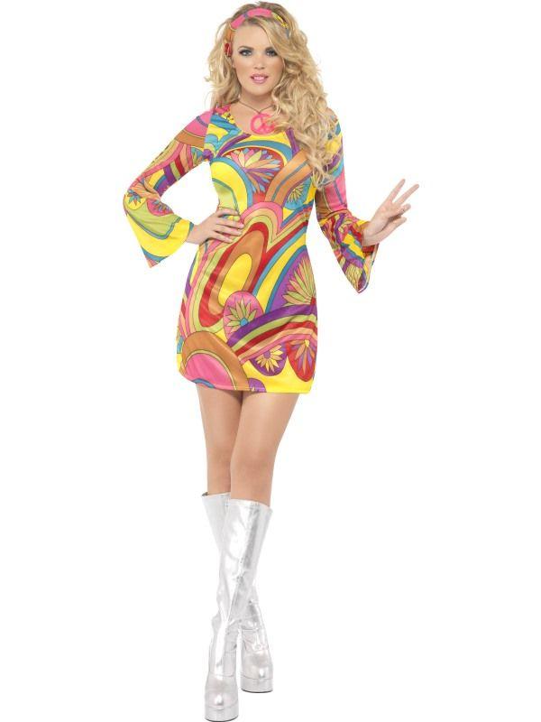 Kostým - Sexy Hipíska- 60. léta - M (88-D) Smiffys.com