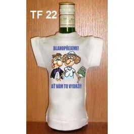Tričko na flašku blahopřejeme! svatba