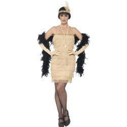 Kostým - Flapper - krátké šaty - zlaté - M (88-D)