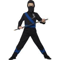 Dětský kostým - Ninja - černo-modrý - S