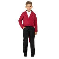 Dětský  kostým - frak -  červený - S