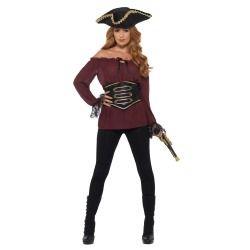 Kostým - Pirátská košile - dámská, vínová - M (88-C) Smiffys