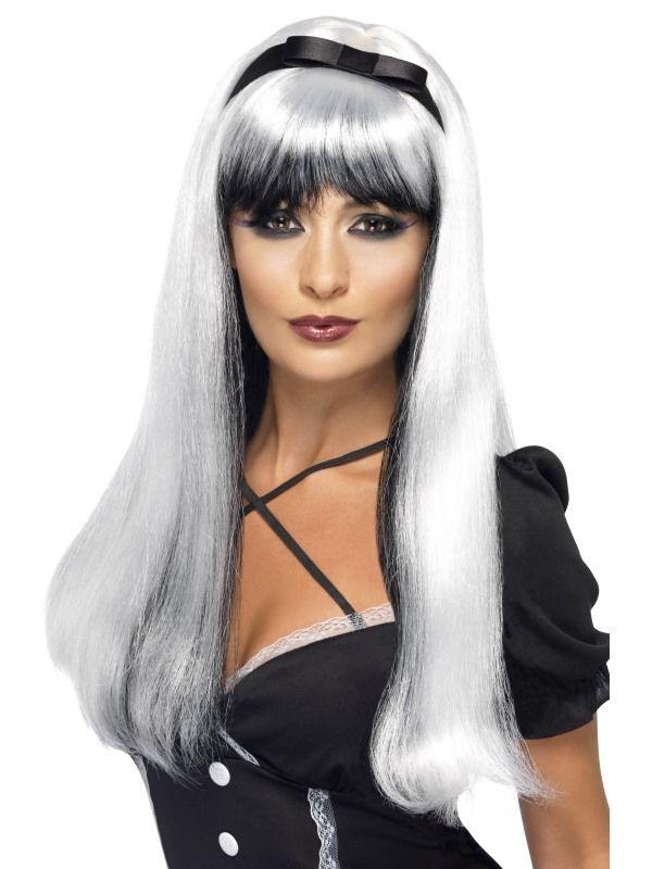 Paruka čarodějnice stříbrnočerná (5-D) Smiffys.com