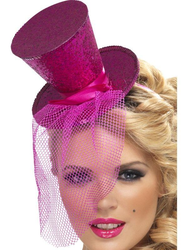 Klobouček mini růžový na čelence Smiffys.com