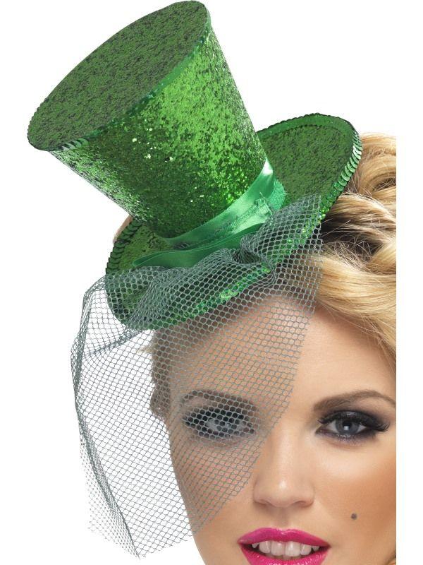 Klobouček mini na čelence zelený Smiffys.com