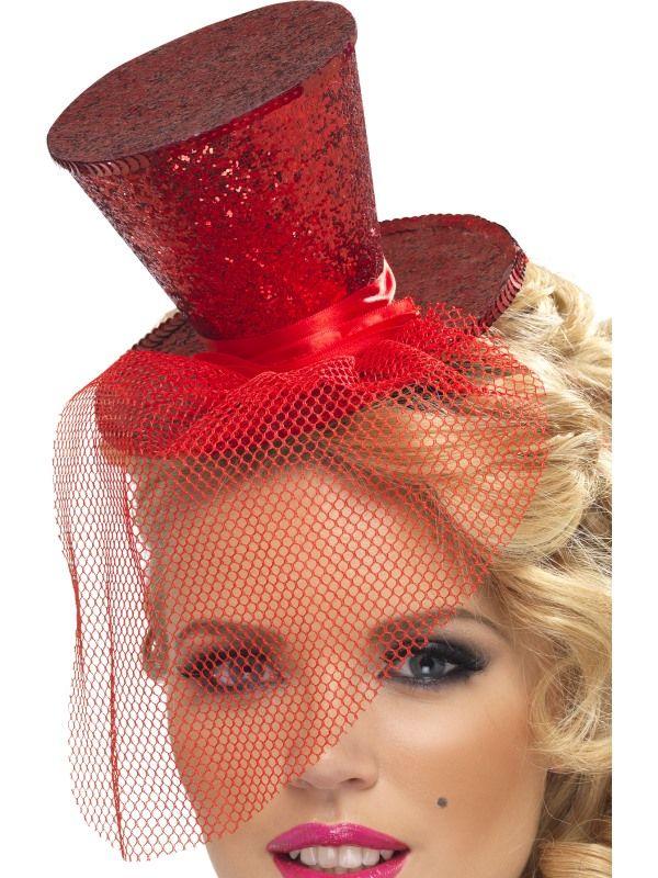 Klobouček mini na čelence červený (54) Smiffys.com
