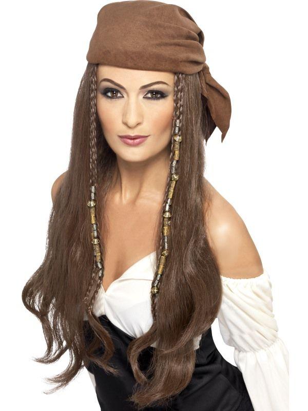 Paruka pirátská hnědá s šátkem (5-H) Smiffys.com