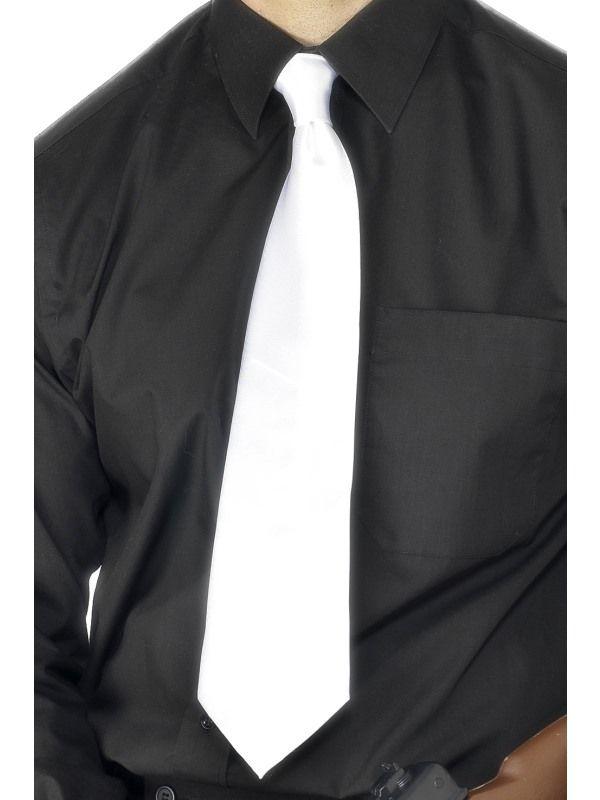 Kravata gangster - bílá (8-E) Smiffys.com