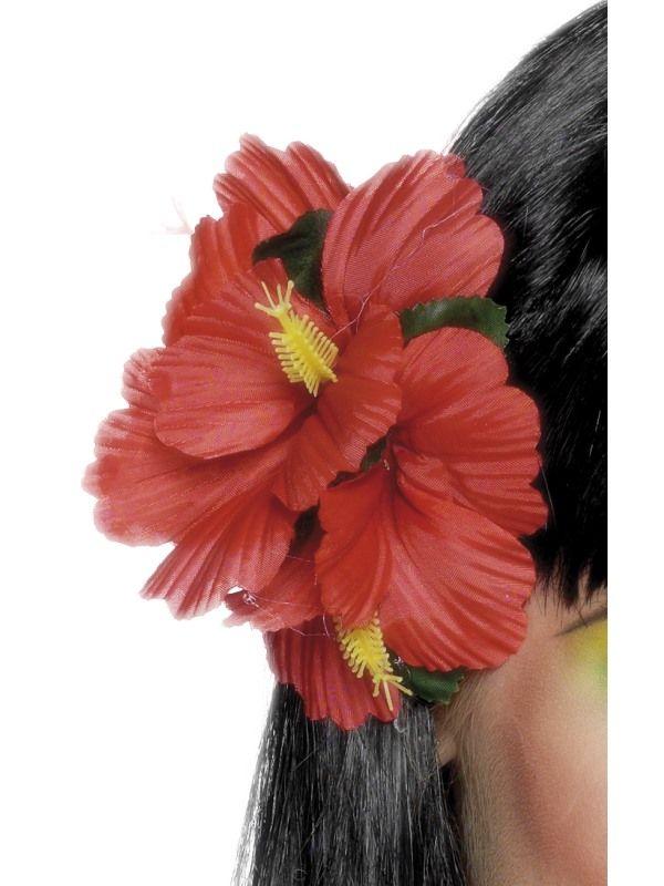 Kytka do vlasů havaj, červená (24-I) Smiffys.com