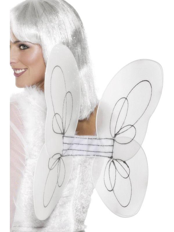 Křídla anděl 50cm x 30cm, bílo stříbrná (107) Smiffys.com