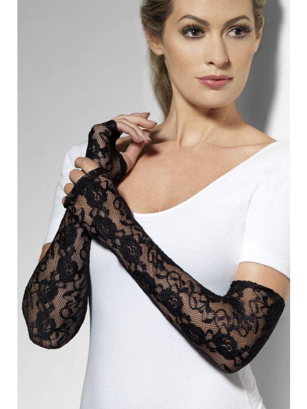Rukavice černé krajkové (38-B) Smiffys.com