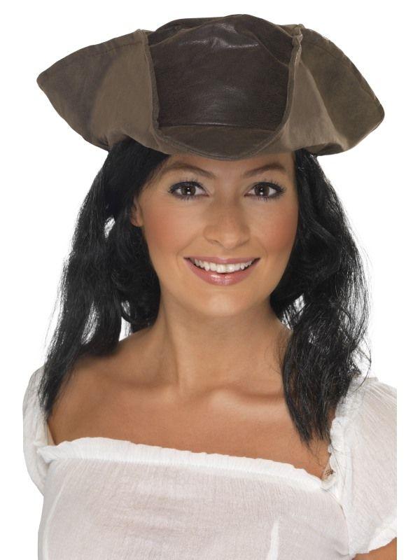 Klobouk pirátský hnědý s vlasy (112-C) Smiffys.com