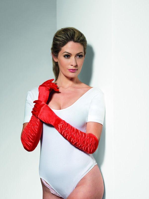 Rukavice červené nařasené (35-C) Smiffys.com