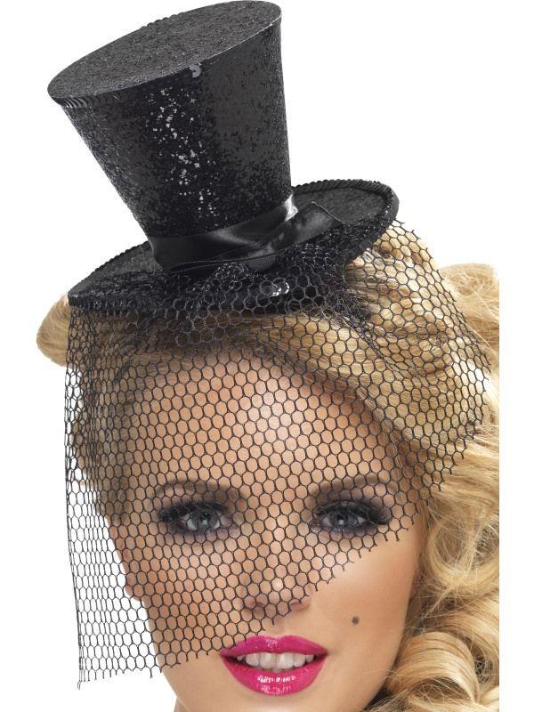 Klobouk černý mini na čelence (54) Smiffys.com