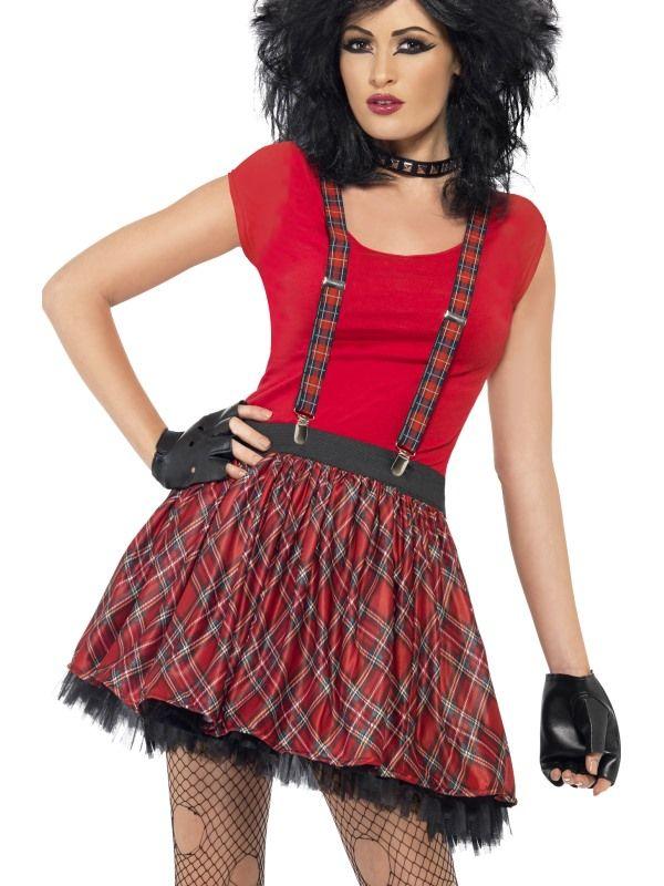 Sada punk- sukně,kšandy,rukavice bez prstů (56) Smiffys.com