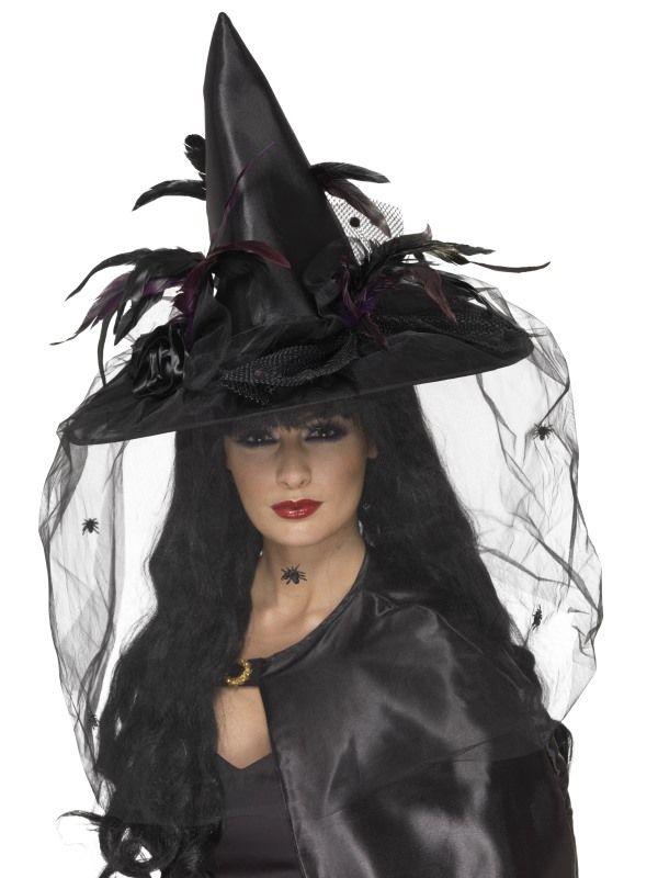 Klobouk čarodějnice se závojem (122-A) Smiffys.com