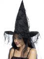 Klobouk čarodějnice s černým závojem (123)