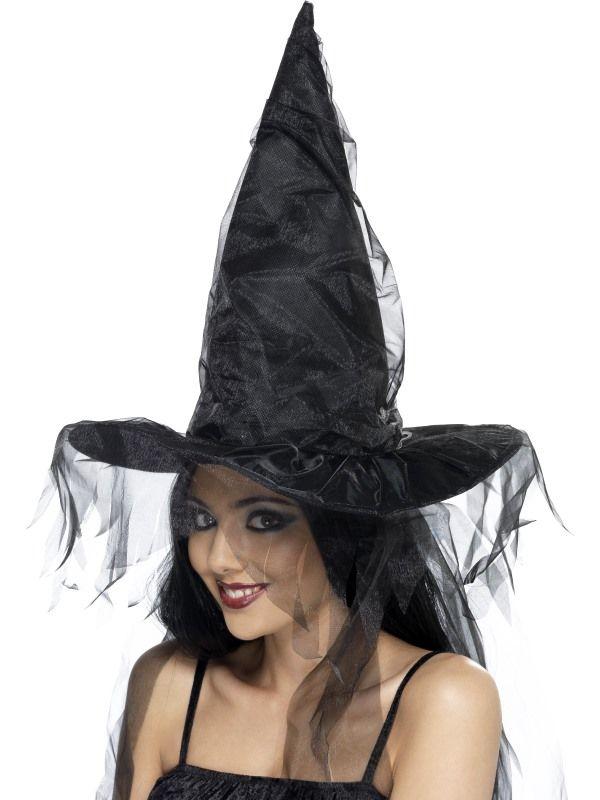 Klobouk čarodějnice s černým závojem (122-A) Smiffys.com