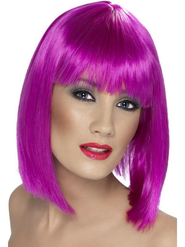 Paruka - Glam - neon - fialová (3-D) Smiffys.com