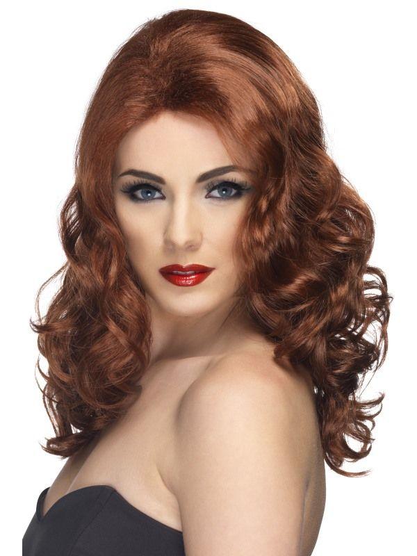 Paruka Glamorous, kaštanově hnědá (6-D) Smiffys.com