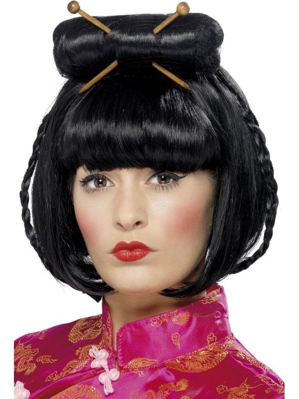 Paruka Gejša oriental černá (5-D) Smiffys.com