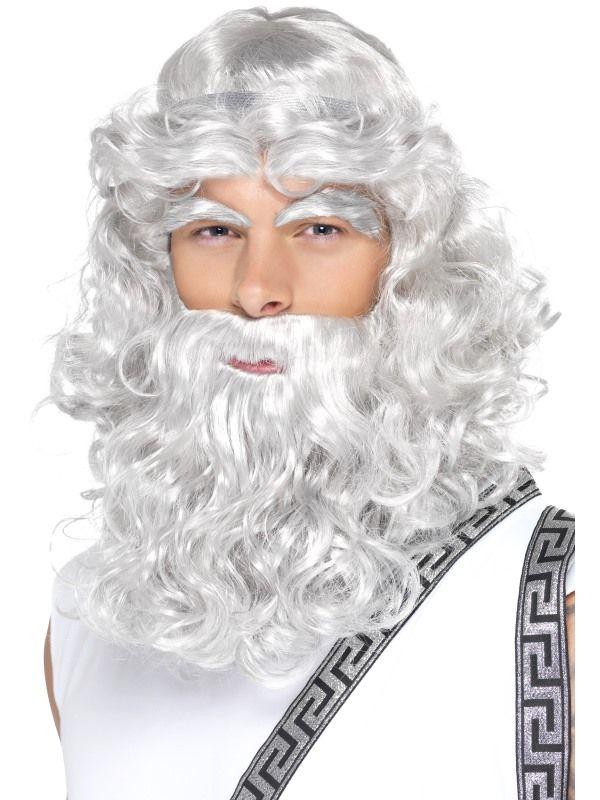 Paruka Zeus - šedá, vousy,obočí (1-D) Smiffys.com