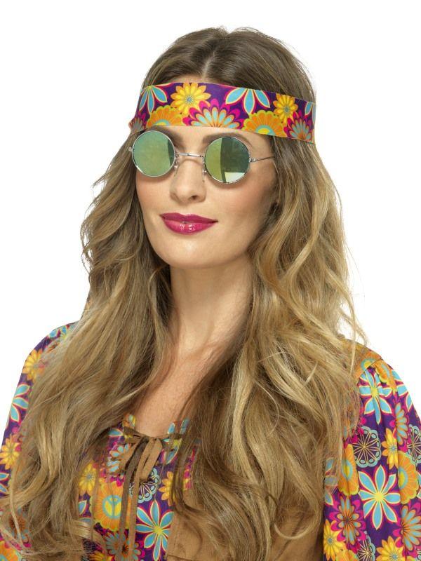 Brýle - Hipís - modro - zelené (48) Smiffys.com