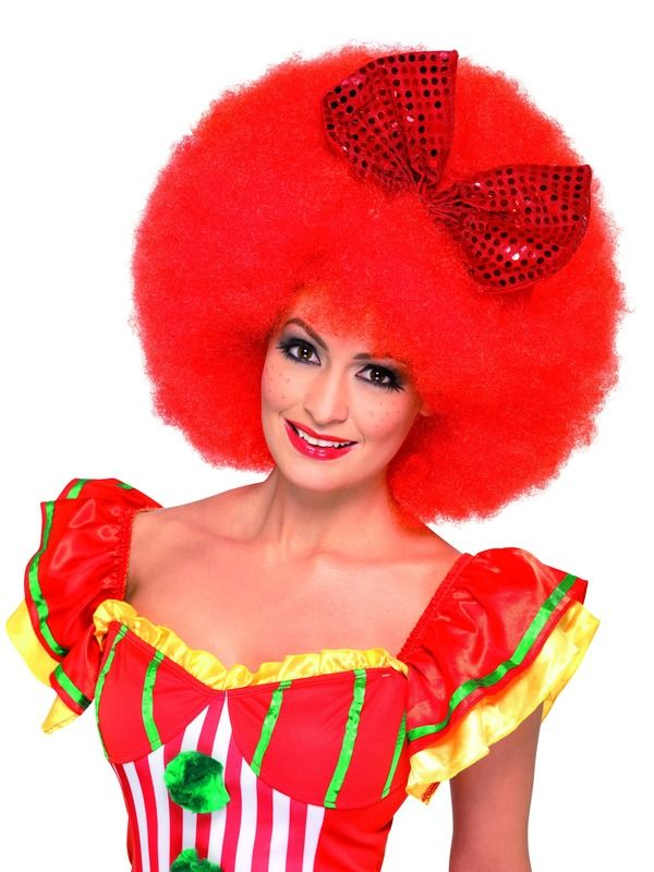 Paruka afro klaun červená (2) Smiffys.com