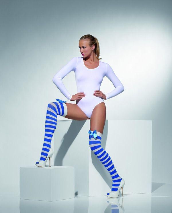 Punčochy bílé-modré (32-C) Smiffys.com