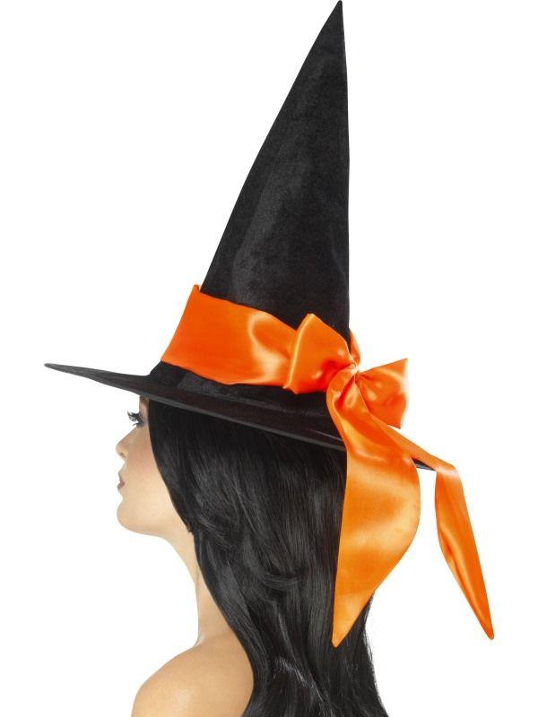 Klobouk čarodějnice s oranžovou mašlí (48) Smiffys.com