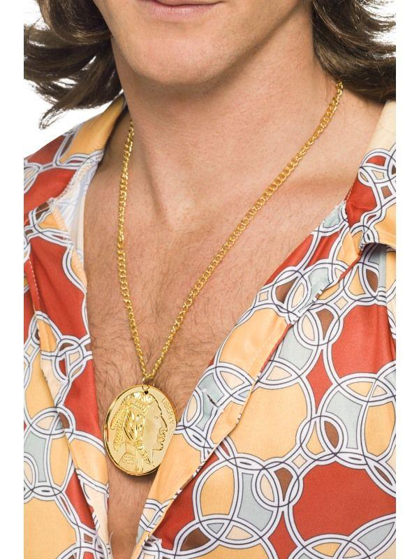 Řetízek - zlatý s medajlónem 5 centů (92) Smiffys.com
