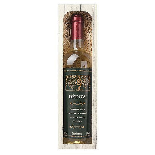 Dárkové víno - Dědečkovi - bílé 750ml Mediabox