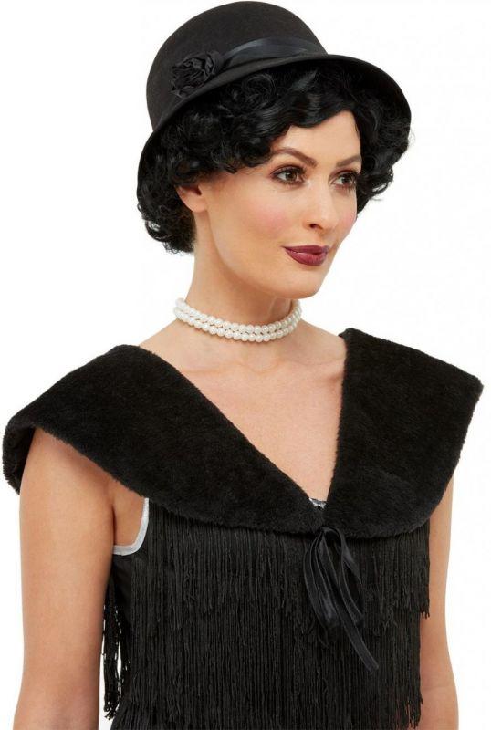 Sada 20 léta - klobouk a kožešina - černá (117-E) Smiffys.com