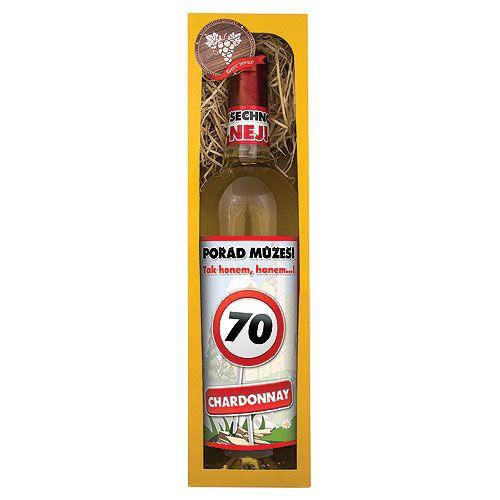 Dárkové víno - Vše nejlepší 70 - bílé 750ml Mediabox