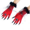 Rukavice s drápy -  dětské -   červené (10-I)
