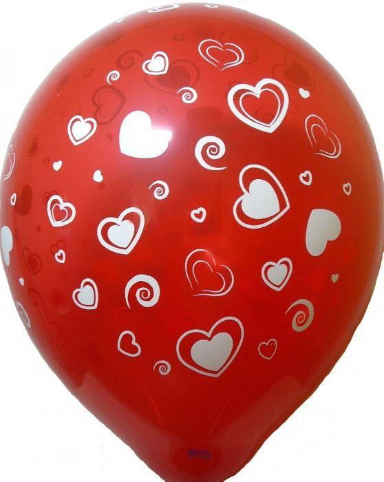 Balónek - srdíčka červené (12-C) Globos