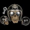 Pokladnička lebka s helmou 14 x13 cm (72-D)