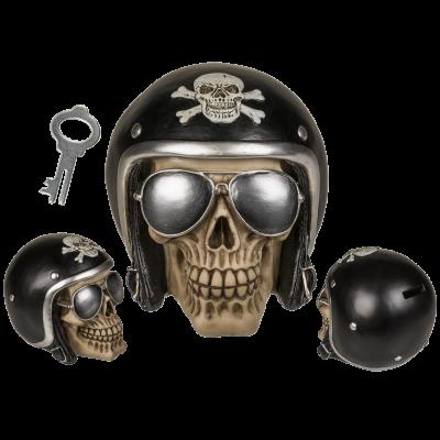 Pokladnička lebka s helmou 14 x13 cm (72-D) ootb.de