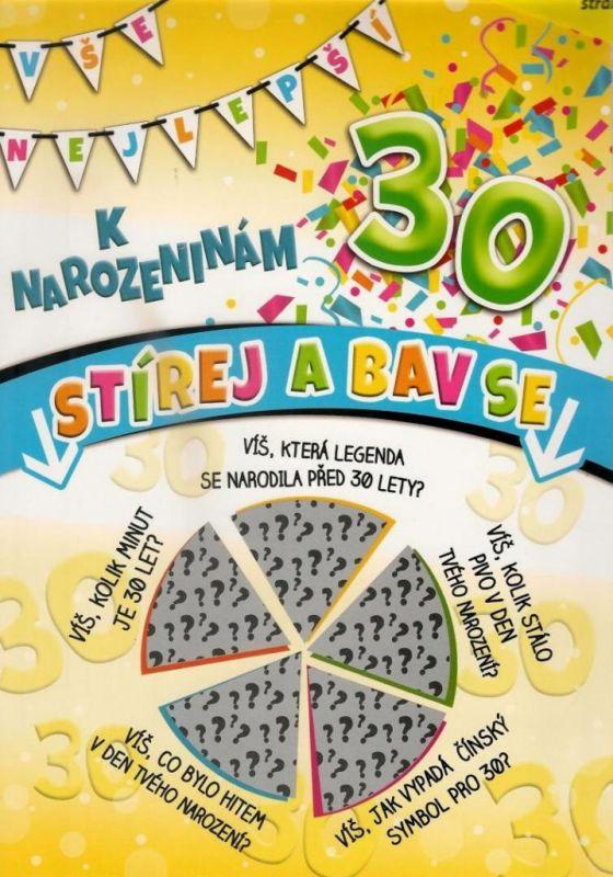 Přání k narozeninám - 30 let - stírací Nekupto